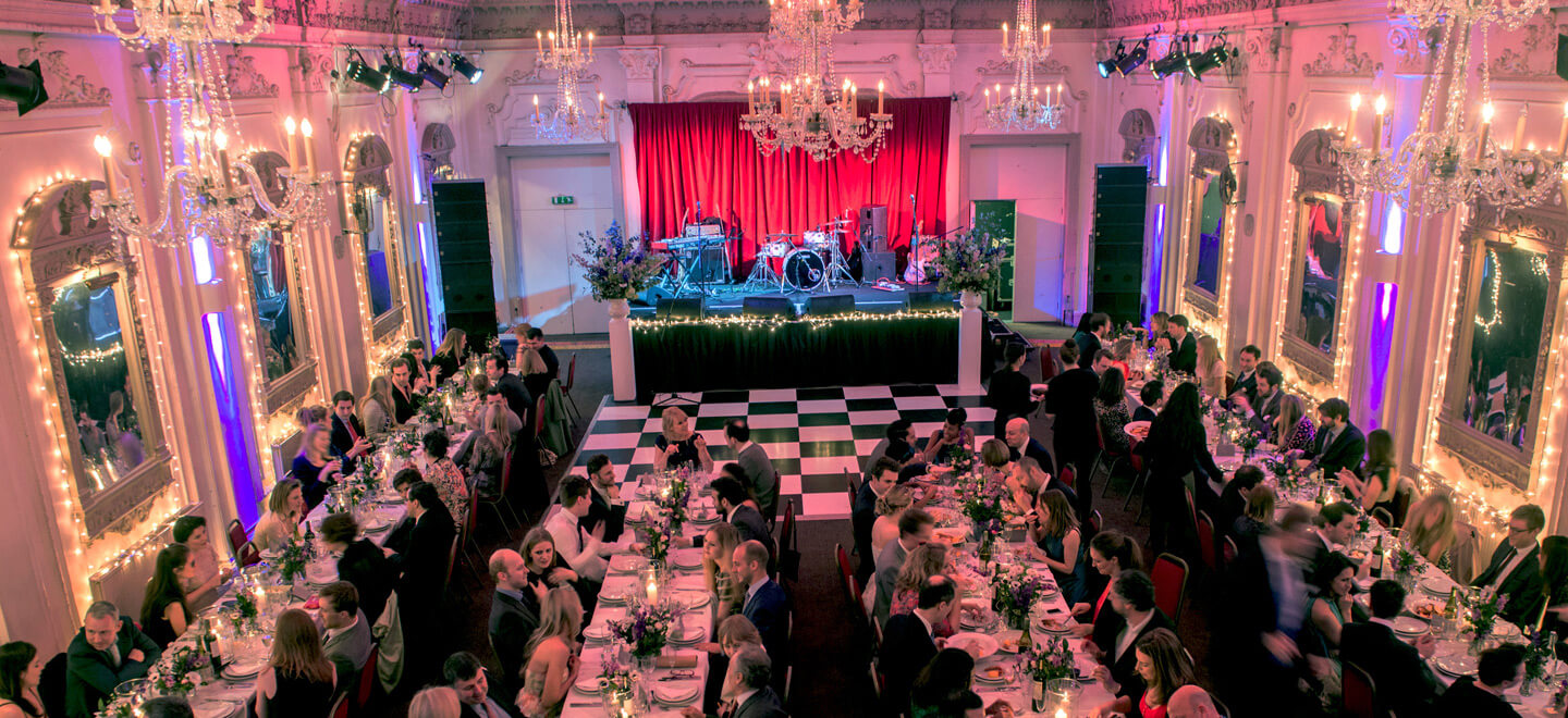 Bush-Hall-music-same-sex-unique-wedding-venue-london-reception-layout-with-diners
