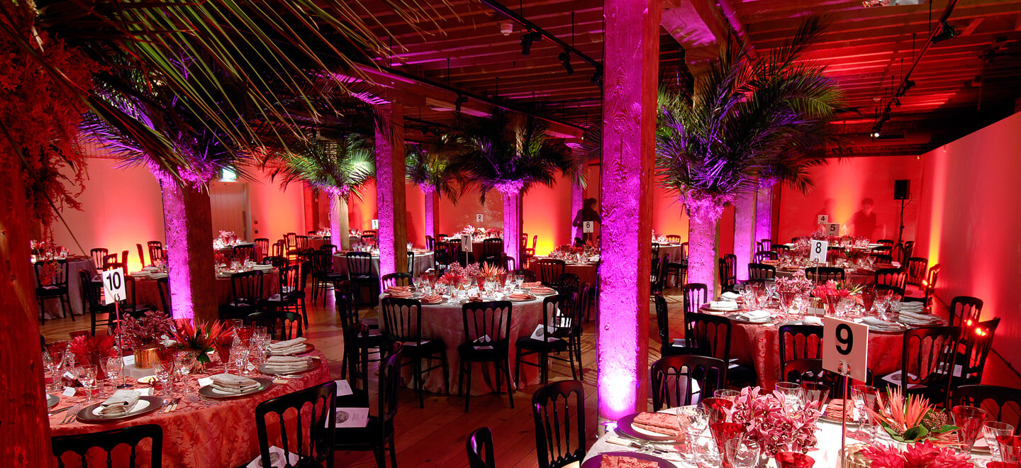 Cabana-wedding-tgheme-atMuseum-of-London-Docklands-City-Museum-Wedding-Venue-London-Tropical-Reception-Layout-Gay-Wedding-Guide