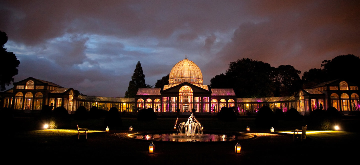 Floodlit-dome-at-night-at-Syon-Park-a-unique-wedding-venue-in-Middlesex-near-London-featured-on-the-Gay-Wwedding-Guide
