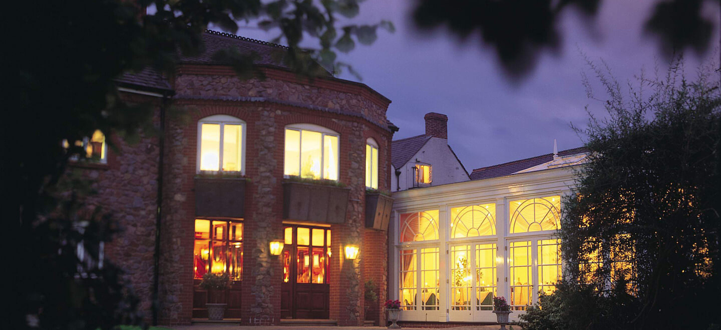 Front-of-hotel-Night-The-Quorn-Country-Hotel-Leicestershire-wedding-venue-quorn-via-the-Gay-Wedding-Guide