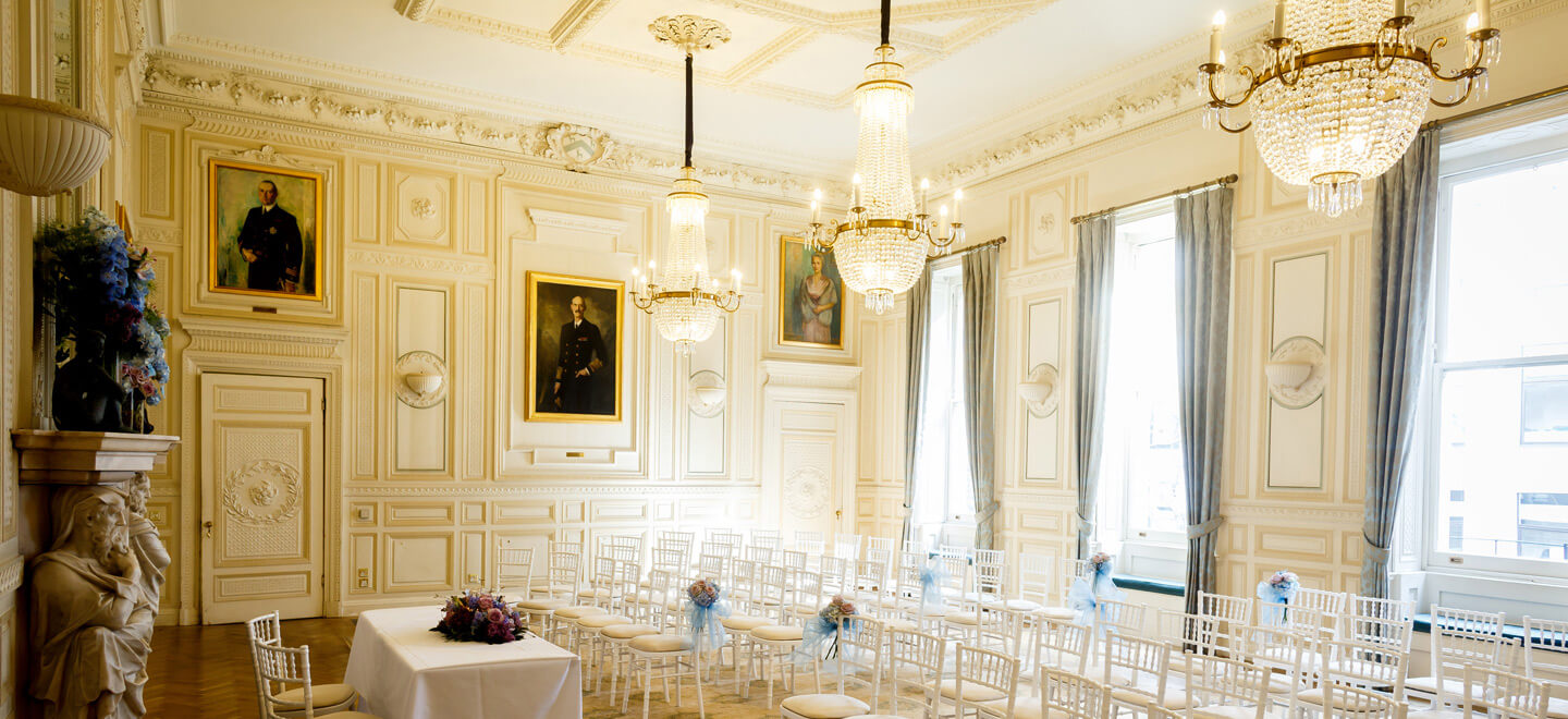 King-Harald-Ceremony-Layout-White-Chairs-In-Out-Club-St-James-Park-London-Luxury-Wedding-Venue-SW1