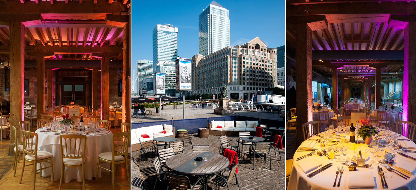 Montage-Museum-of-London-Docklands-City-Museum-Wedding-Venue-London-Tropical-Reception-Layout-Gay-Wedding-Guide