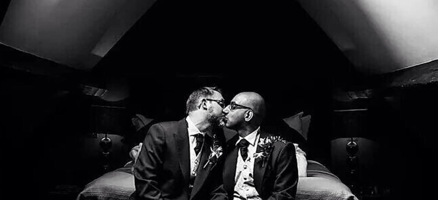 Taj-and-Will-same-sex-marriage-Yorkshire-at-Yorebridge-House-bw-photo-copyright-of-Samuel-Waterhouse-Photography