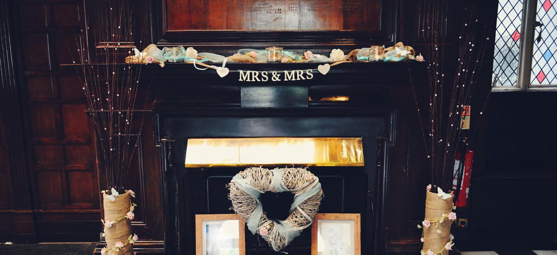 mrs-and-mrs-sign-at-TV-wedding-venue-Shepperton-Studios-a-unique-wedding-venue-Berkshire