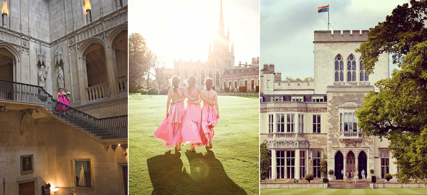 Ashridge-House-Gay-Flag-and-bridesmaids-Berkhamsted-Gay-Wedding-Venue-Hertfordshire-via-The-Gay-Wedding-Guide