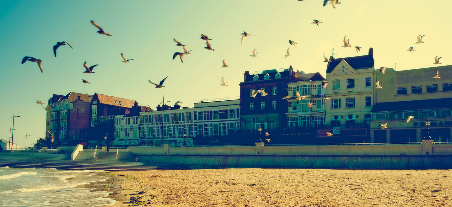 Margate-beach-looking-at-Sands-Hotel-Margate-wedding-venue-featured-on-The-Gay-Wedding-Guide