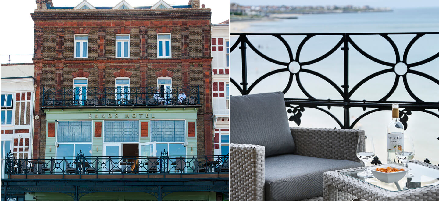 balcony-and-facade-of-Sands-Hotel-Margate-wedding-venue-a-beach-wedding-venue-featured-on-The-Gay-Wedding-Guide