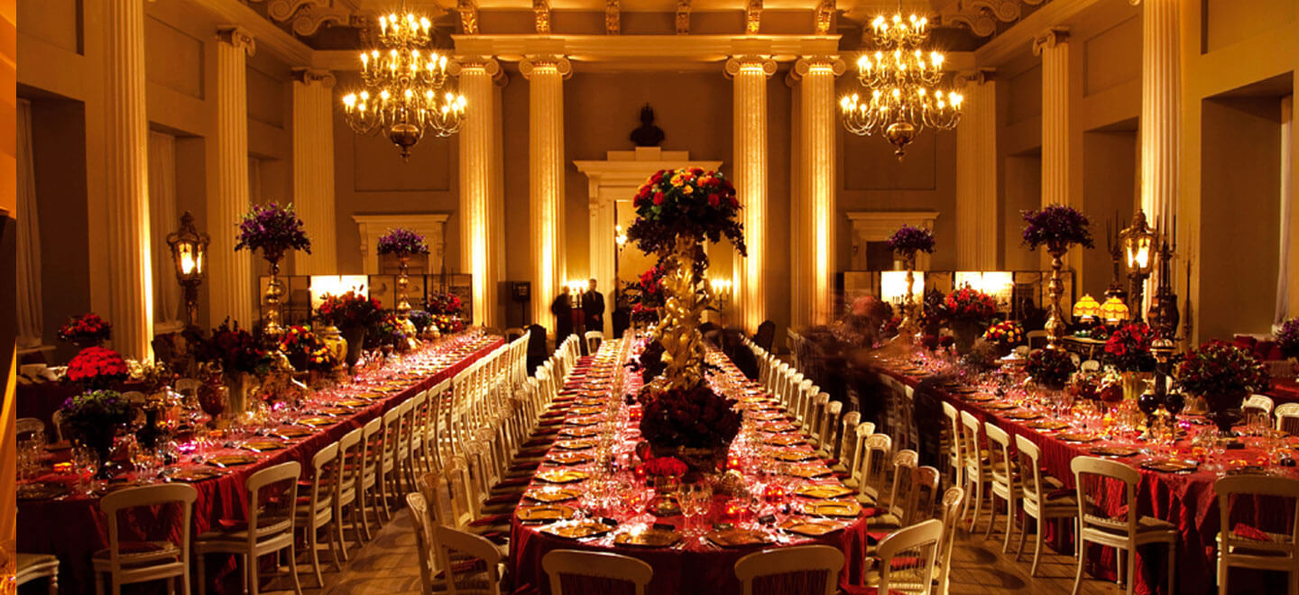 Banqueting House banquet tables a Royal Palace Wedding Venue in London via the Gay Wedding Guide