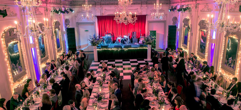 Bush Hall music same sex unique wedding venue london reception layout with diners