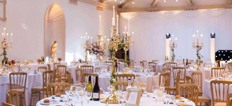 Spring wedding breakfast layout at TV wedding venue Shepperton Studios a unique wedding venue Berkshire