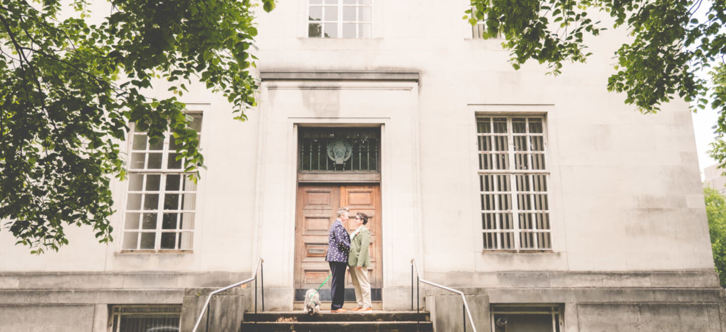 lesbian couple at lesbian wedding Cardiff at Temple of Peace Cardif wedding venue unique via The Gay Wedding Guide 1