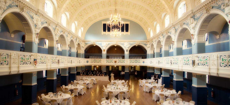 Wedding breakfast layout at Oxford Town Hall wedding venue oxford gay wedding guide 1