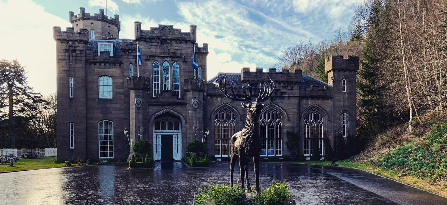 Front stag at Drumtochty Castle wedding venue Scotland via The Gay Wedding Guide 1