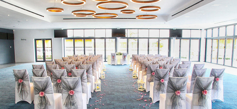 Owners Club Ceremony layout at Newbury Racecourse unique wedding venue Gay Wedding Guide