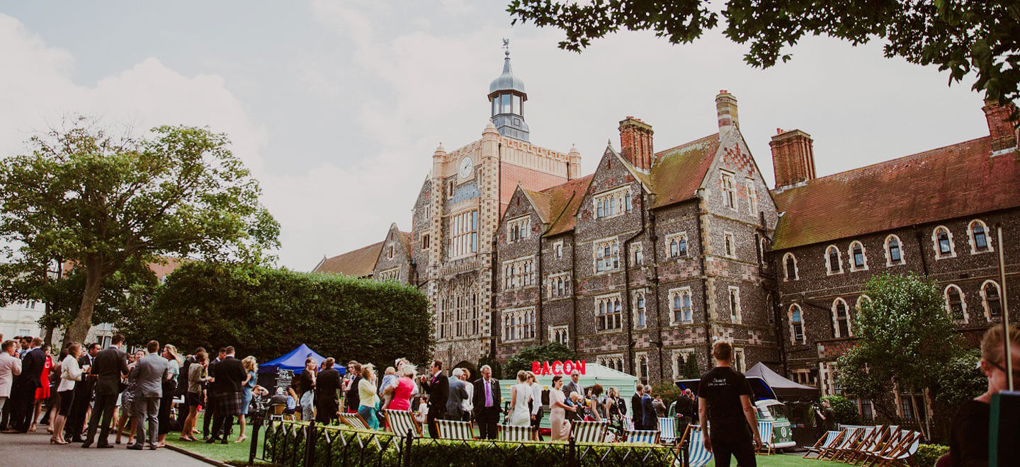 Outdoor reception at Brighton College a gay wedding venue Brighton East Sussex fetured on the gay Wedding Guide