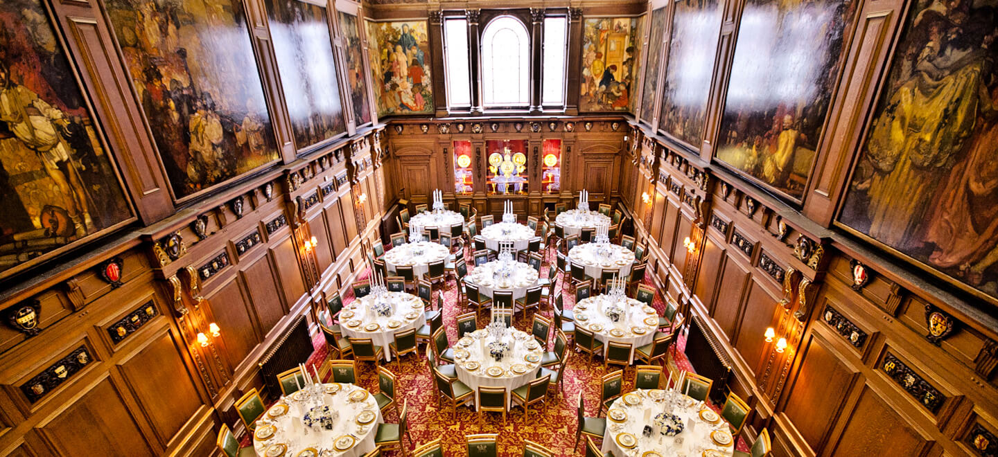 Formal round table wedding breakfast layout at Skinners Hall wedding venue central London gay wedding Guide 1 1
