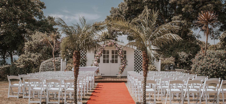 Outdoor wedding ceremony Bournemouth Hotel Miramar gay wedding venue guide