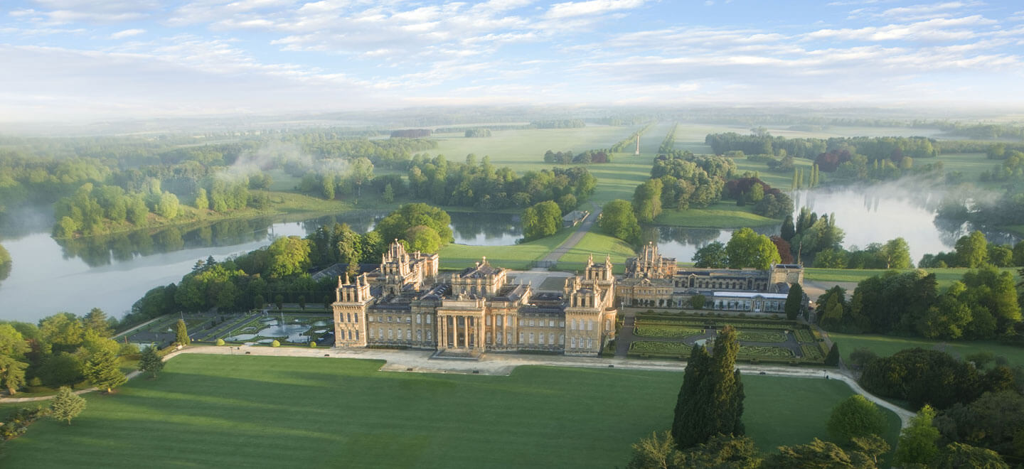 Aerial view of Blenheim Palace Park wedding venue Oxfordshire gay wedding guide