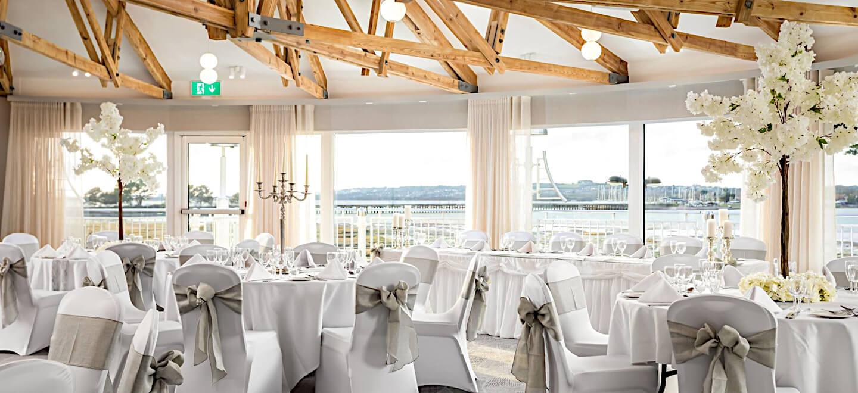reception layout at Langstone Quays Resort beach wedding venue Hampshire gay wedding guide 1