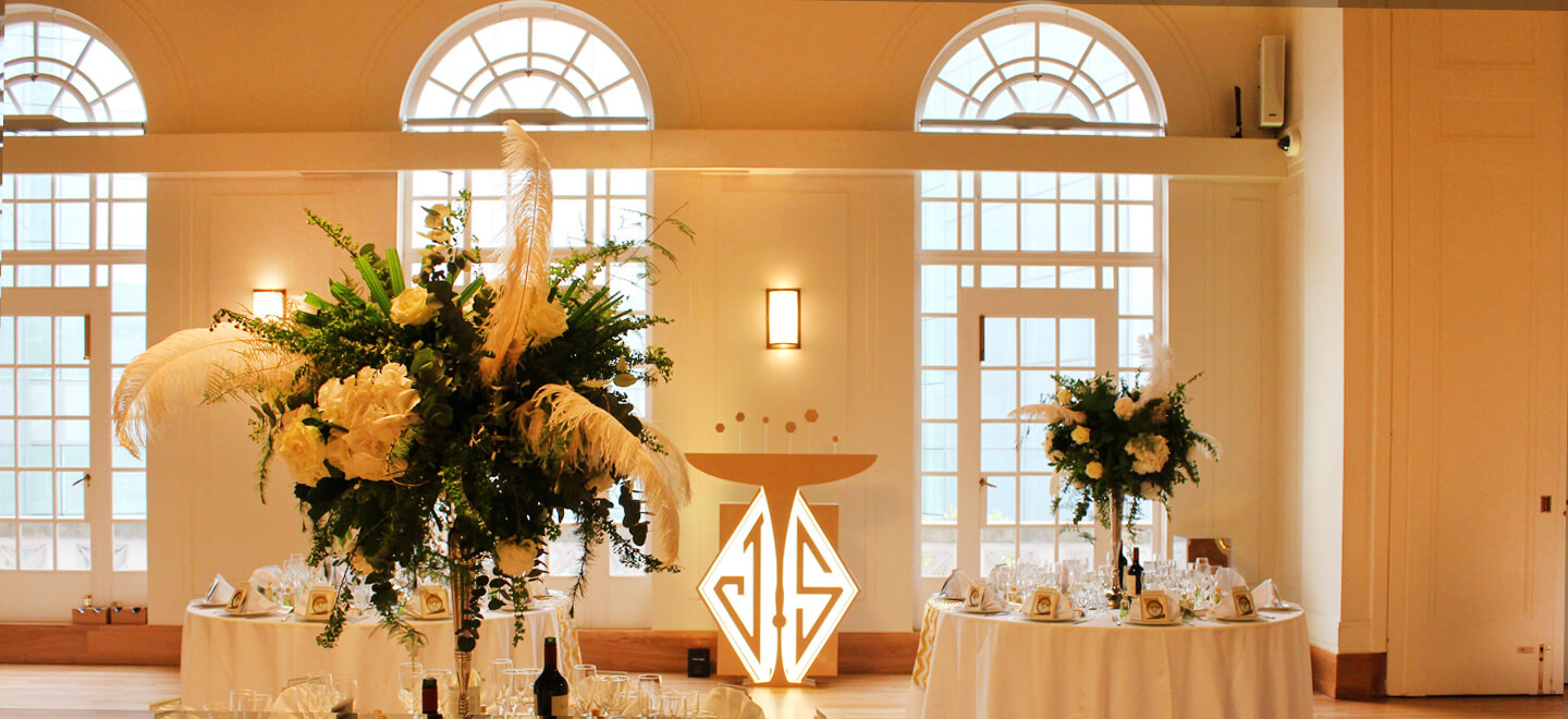 Assembly Hall at Hackney Town Hall Art Deco Wedding Venue London via Gay Wedding Guide image by Easy Gourmet