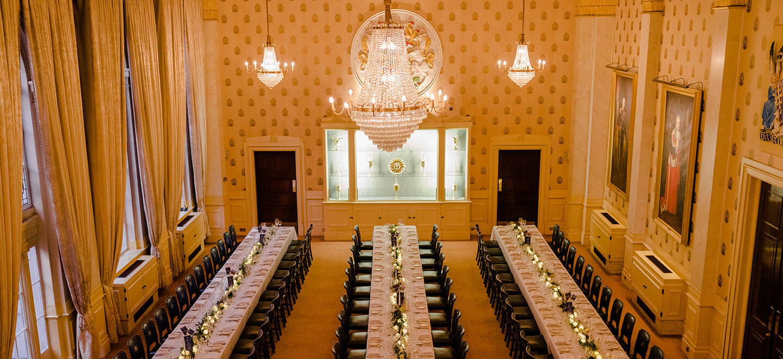 Great Hall wedding breakfast at Saddlers Hall City Wedding Venue London Gay wedding guide 1