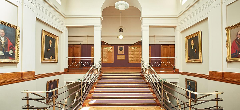 Town Hall Council Chamber at Stoke Newington Town Hall Art Deco Wedding Venue London via Gay Wedding Guide
