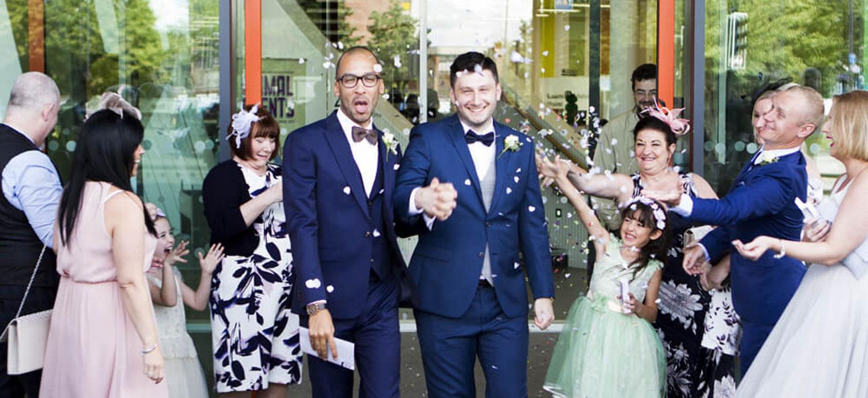 1440 confetti throw at real gay wedding of Martin and Grey copyright Jennifer Langridge 3