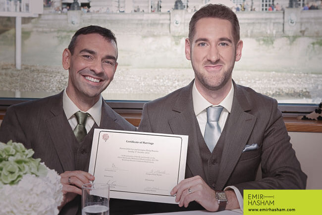 Certificate of Marriage for Darren and Georgios same sex marriage London boat wedding. Photographs copyright Emir Hasham 4
