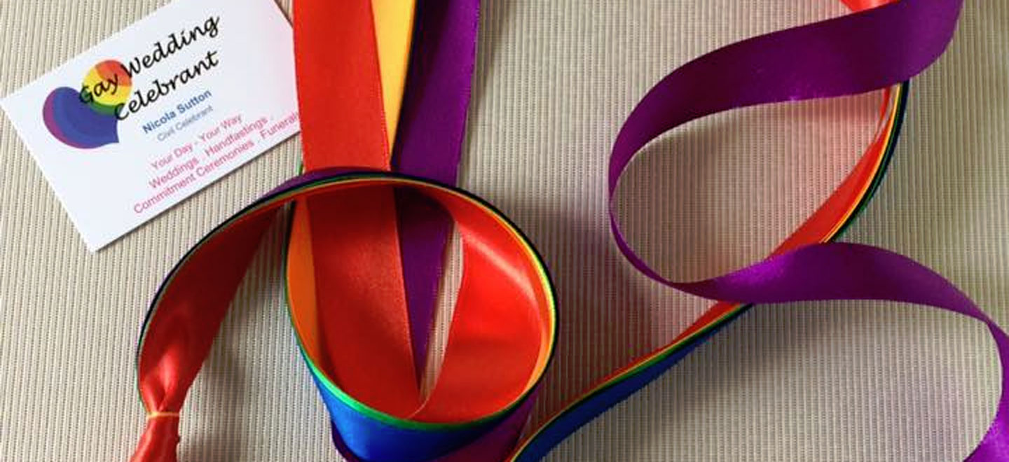 Gay Wedding Celebrant business card and ribbon via The Gay Wedding Guide 6