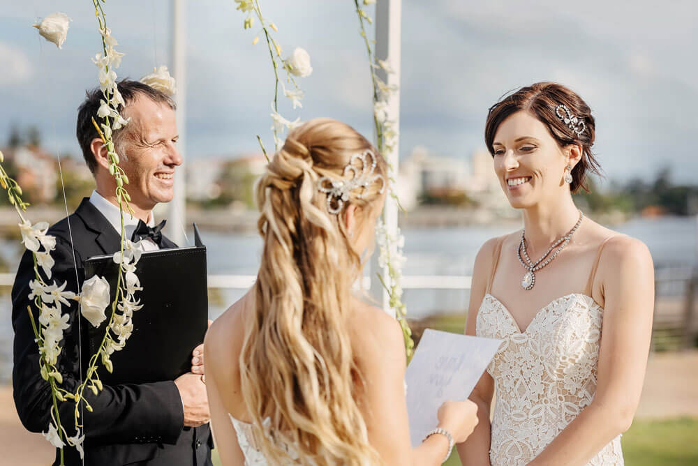 Megan and Fiona say vows at their lesbian wedding australia shoot via Brisbane City Celebrants Elysia and the gay wedding guide 4