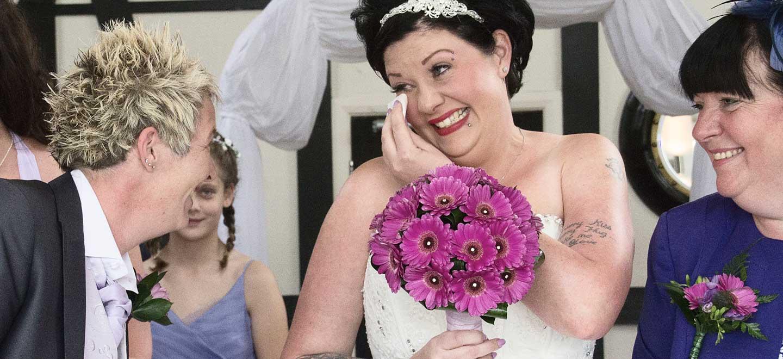 tears of wedding bliss lesbian wedding photo cpyright Jennifer Langridge Wedding Photography for the real gay wedding guide 4